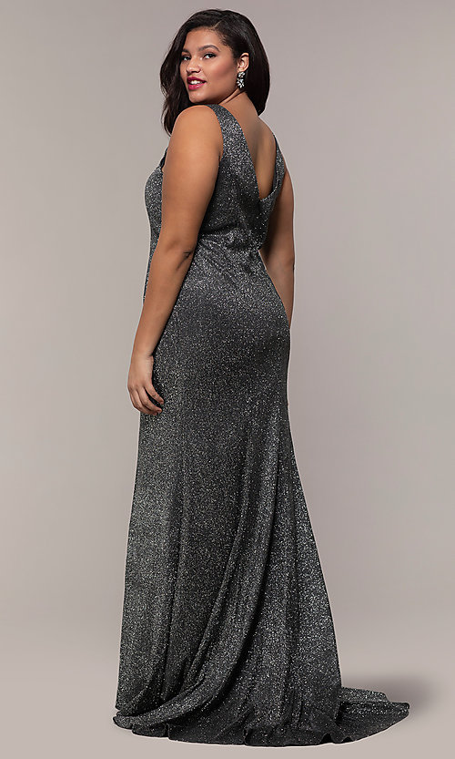 Image of glitter-knit long plus-size prom dress by PromGirl. Style: SC-PL-PG-D Back Image