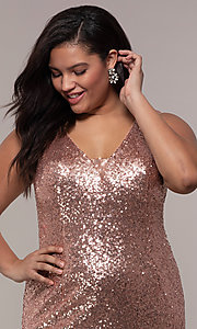 Image of long sequin plus-size formal dress by PromGirl. Style: SC-PL-PG-E Detail Image 1