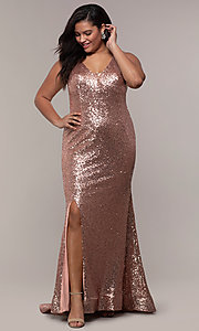 Image of long sequin plus-size formal dress by PromGirl. Style: SC-PL-PG-E Detail Image 3