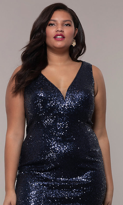 Image of long sequin plus-size formal dress by PromGirl. Style: SC-PL-PG-E Detail Image 6