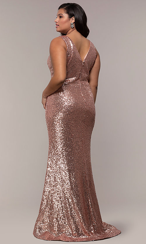 Image of long sequin plus-size formal dress by PromGirl. Style: SC-PL-PG-E Back Image