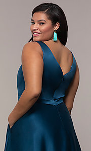 Image of long a-line v-neck plus-size prom dress by PromGirl. Style: SC-PL-PG-F Detail Image 2