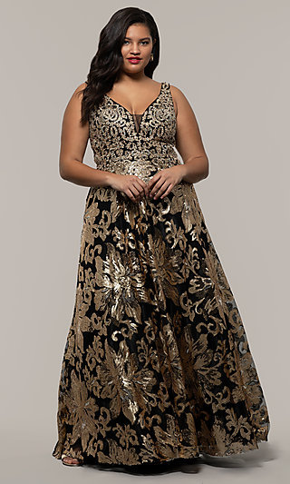 Sequin-Print Plus Black Prom Dress by PromGirl