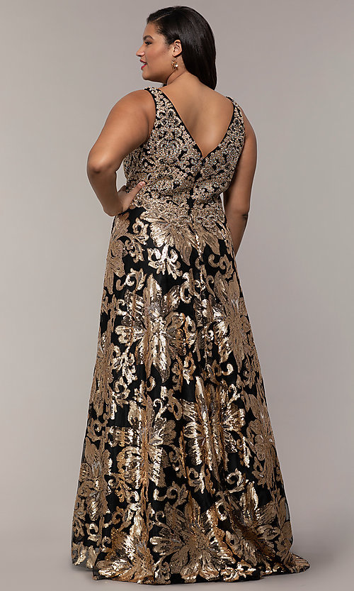 Image of sequin-print plus black prom dress by PromGirl. Style: SC-PL-PG-H Back Image