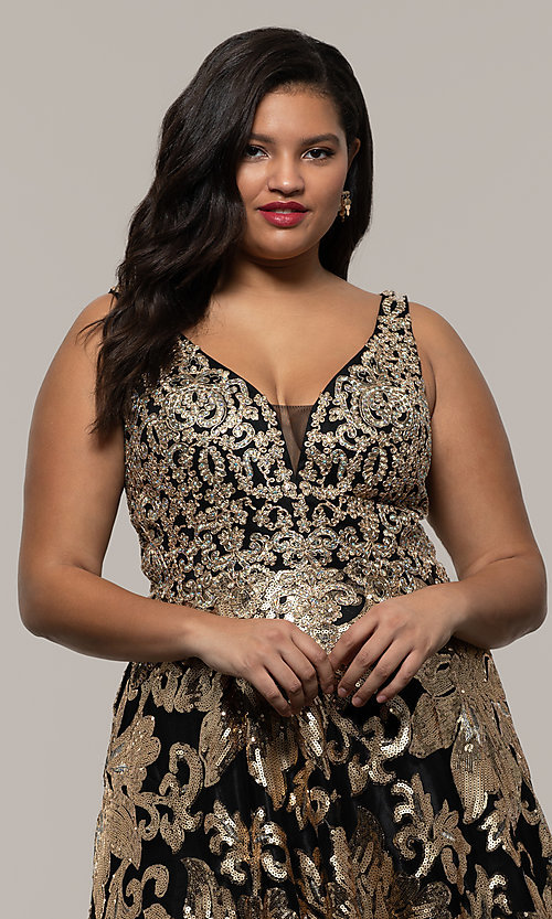 Image of sequin-print plus black prom dress by PromGirl. Style: SC-PL-PG-H Detail Image 1