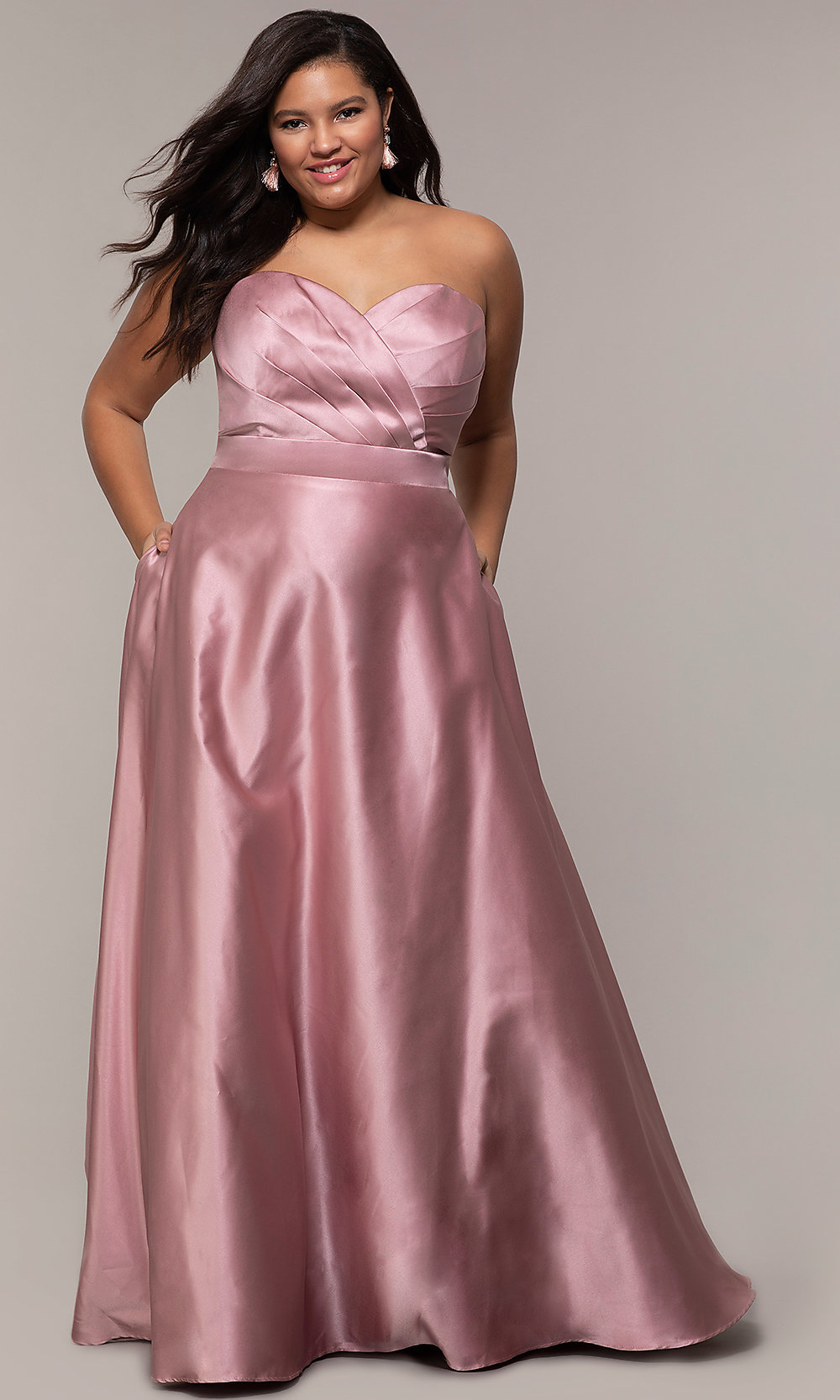 Plus-Size Strapless Sweetheart Prom Dress by PromGirl