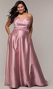 Image of plus-size strapless sweetheart prom dress by PromGirl. Style: SC-PL-PG-J Front Image