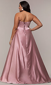 Image of plus-size strapless sweetheart prom dress by PromGirl. Style: SC-PL-PG-J Back Image