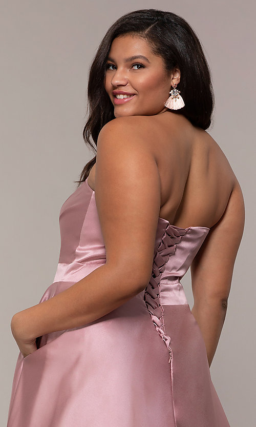 Image of plus-size strapless sweetheart prom dress by PromGirl. Style: SC-PL-PG-J Detail Image 2