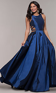 Image of twilight blue ball-gown-style long prom dress. Style: FA-10248 Back Image
