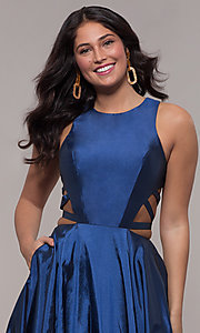 Image of twilight blue ball-gown-style long prom dress. Style: FA-10248 Detail Image 1