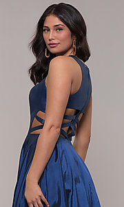 Image of twilight blue ball-gown-style long prom dress. Style: FA-10248 Detail Image 2