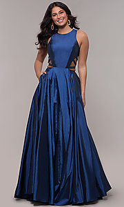 Image of twilight blue ball-gown-style long prom dress. Style: FA-10248 Detail Image 3