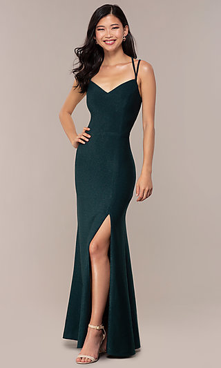 Long Sweetheart Caged-Back Sparkly Prom Dress