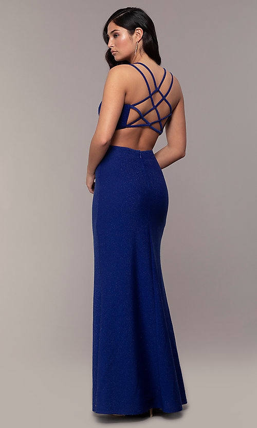 Image of long sweetheart caged-back sparkly prom dress. Style: MO-12681 Front Image