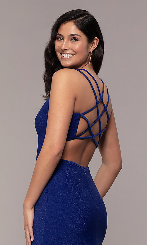 Image of long sweetheart caged-back sparkly prom dress. Style: MO-12681 Detail Image 2