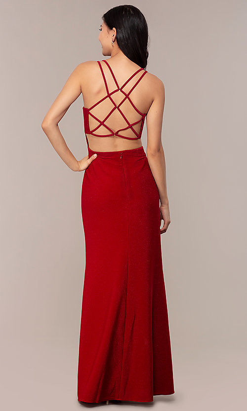 Image of long sweetheart caged-back sparkly prom dress. Style: MO-12681 Detail Image 4