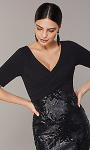 Image of mother-of-the-bride long black dress with sequins. Style: AP-AP1E205644-B Detail Image 1