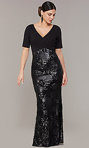 Image of mother-of-the-bride long black dress with sequins. Style: AP-AP1E205644-B Detail Image 2