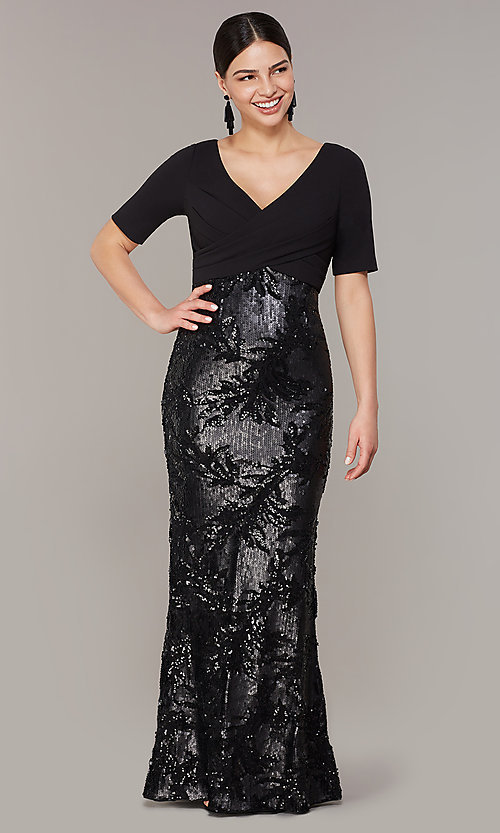 Image of mother-of-the-bride long black dress with sequins. Style: AP-AP1E205644-B Front Image