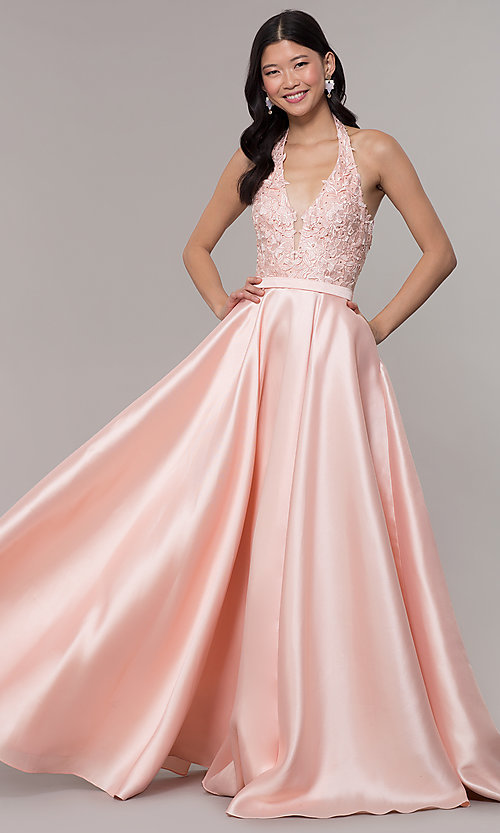 Image of halter long prom dress with embroidered applique. Style: PO-8316 Front Image