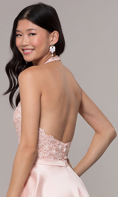 Image of halter long prom dress with embroidered applique. Style: PO-8316 Detail Image 2