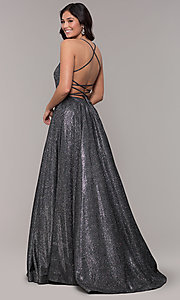 Image of open-back long metallic v-neck prom gown. Style: PO-8470 Detail Image 7