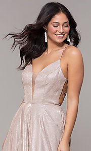 Image of open-back long metallic v-neck prom gown. Style: PO-8470 Detail Image 1