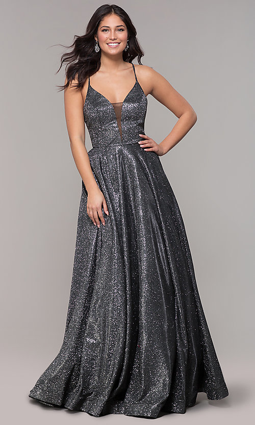 Image of open-back long metallic v-neck prom gown. Style: PO-8470 Detail Image 6