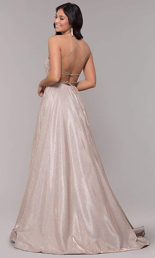 Image of open-back long metallic v-neck prom gown. Style: PO-8470 Back Image