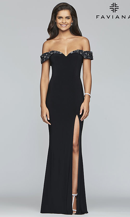 Image of long sweetheart prom dress with beaded neckline. Style: FA-S10202 Front Image