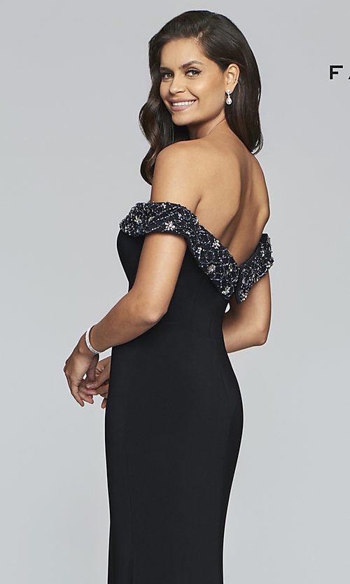 Image of long sweetheart prom dress with beaded neckline. Style: FA-S10202 Detail Image 2