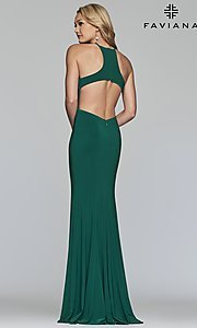 Image of forest green Faviana long prom dress with cut outs. Style: FA-S10207 Back Image
