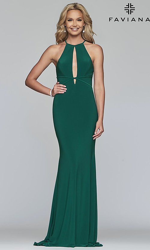 Image of forest green Faviana long prom dress with cut outs. Style: FA-S10207 Front Image