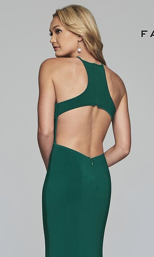 Image of forest green Faviana long prom dress with cut outs. Style: FA-S10207 Detail Image 2