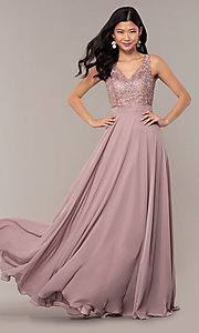 Image of long v-neck lace-bodice prom dress by PromGirl. Style: DQ-PL-2777 Detail Image 4