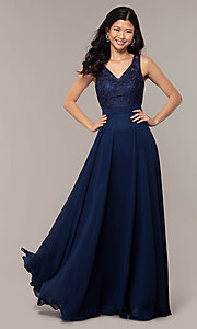 Image of long v-neck lace-bodice prom dress by PromGirl. Style: DQ-PL-2777 Front Image