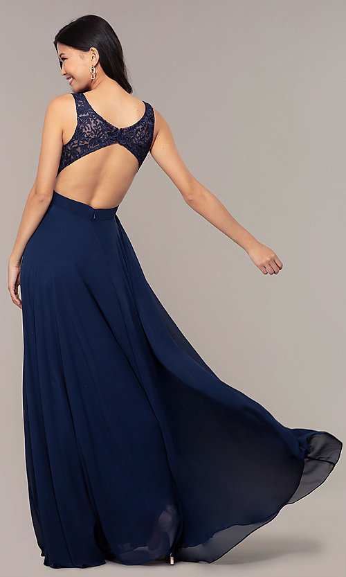 Image of long v-neck lace-bodice prom dress by PromGirl. Style: DQ-PL-2777 Back Image