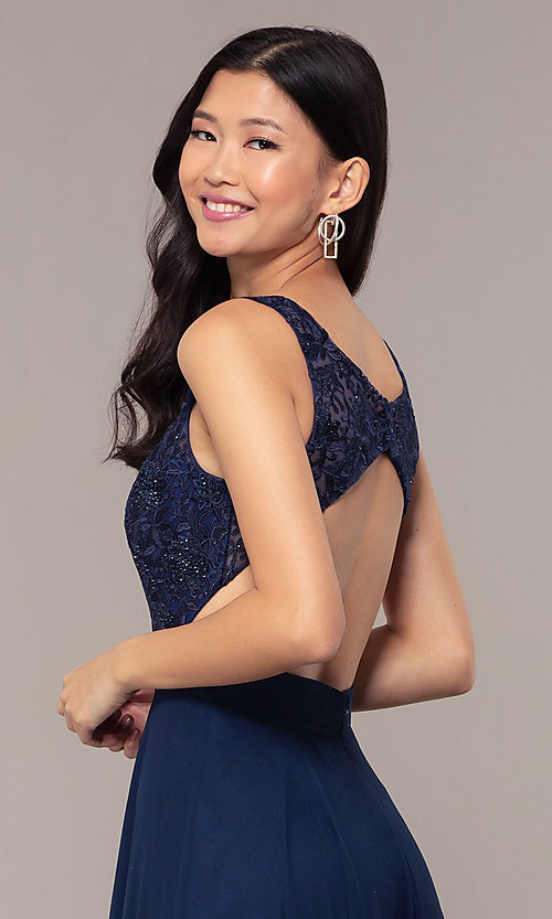 Image of long v-neck lace-bodice prom dress by PromGirl. Style: DQ-PL-2777 Detail Image 2