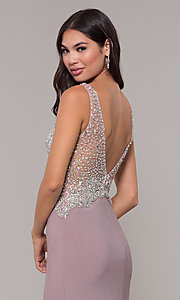 Image of long v-neck mocha prom dress by PromGirl. Style: DQ-PL-2813 Detail Image 2