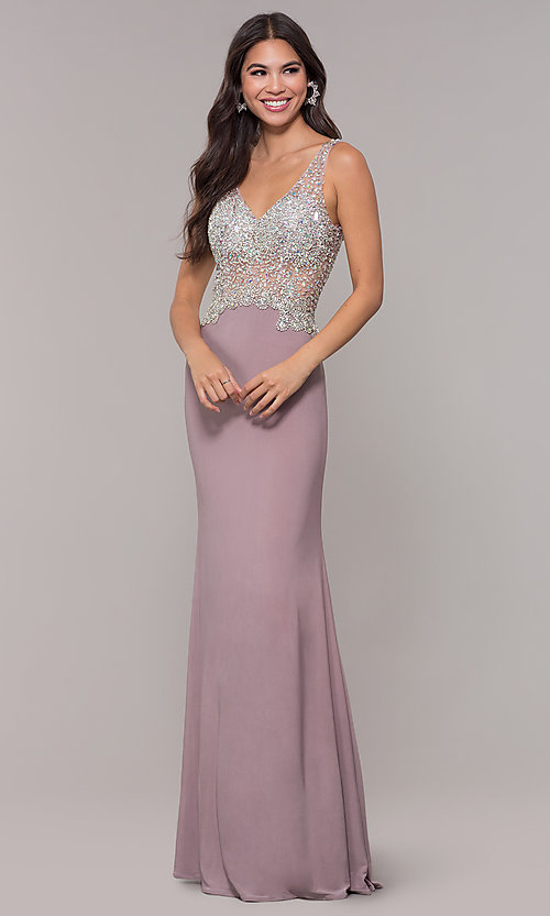 Image of long v-neck mocha prom dress by PromGirl. Style: DQ-PL-2813 Front Image