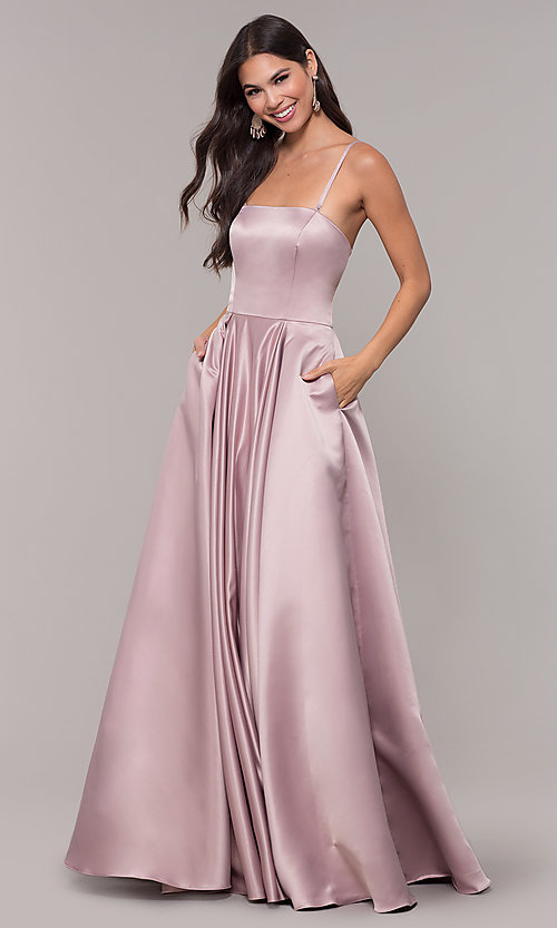 Image of long mocha satin prom dress by PromGirl. Style: DQ-PL-2822 Front Image