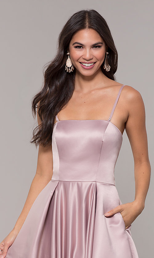 Image of long mocha satin prom dress by PromGirl. Style: DQ-PL-2822 Detail Image 1