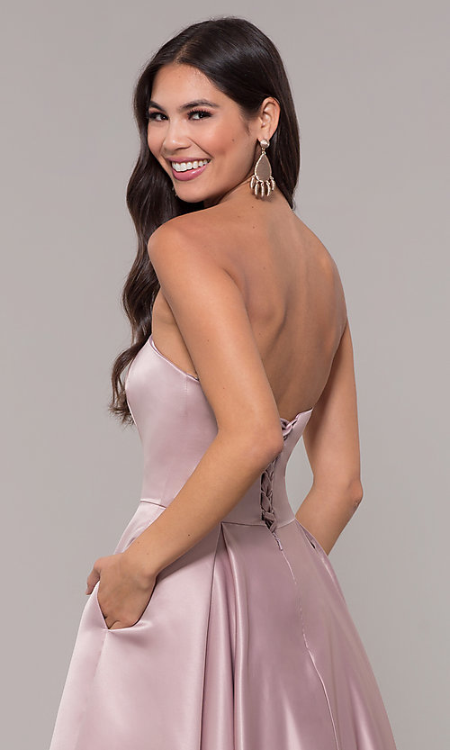 Image of long mocha satin prom dress by PromGirl. Style: DQ-PL-2822 Detail Image 2