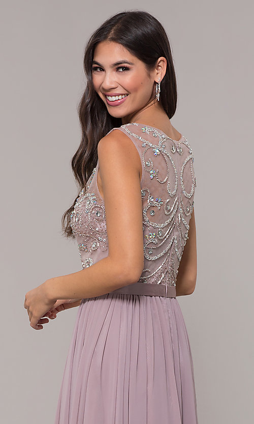 Image of long scoop-neck mocha prom dress by PromGirl. Style: DQ-PL-2810 Detail Image 2
