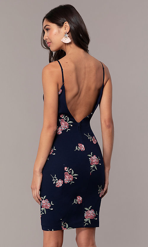 Image of short embroidered navy v-neck wedding-guest dress. Style: EM-FXH-3986-425 Back Image