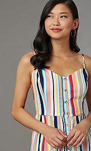 Image of striped casual cruise dress with adjustable straps. Style: EM-HGV-4062-195 Detail Image 1