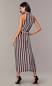 Image of long striped sleeveless party dress with pockets. Style: EM-FVA-4033-096 Back Image