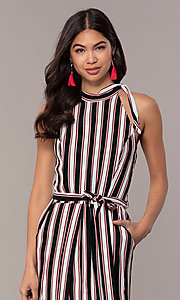 Image of long striped sleeveless party dress with pockets. Style: EM-FVA-4033-096 Detail Image 1