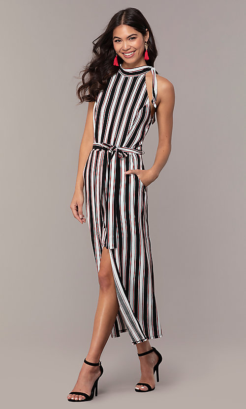 Image of long striped sleeveless party dress with pockets. Style: EM-FVA-4033-096 Front Image